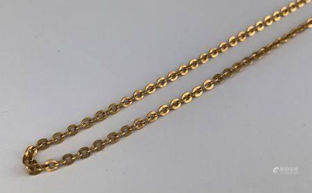 Collier en or jaune (750 millièmes) à fine maille forçat  L : 52 cm Poids : 9.9 g