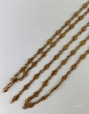 Importante chaîne en or jaune (750 millièmes) terminée par une petite goupille Poids : 45,9 g