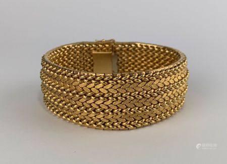 Bracelet manchette en or jaune (750 millièmes) à maille milanaise travaillée sur 7 rangs  Poids