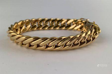 Bracelet gourmette en or jaune (750 millièmes)  Poids : 29.1 g.