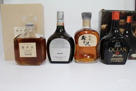80年代 轻井泽威士忌4支 700ml 40度 760ml 43度