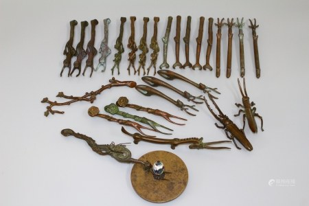 昭和时期 铜制茶壶提托 28把