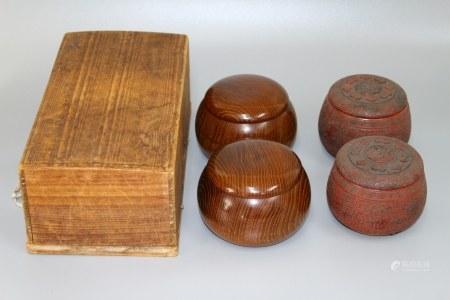 昭和时期 日本围棋盒 两组