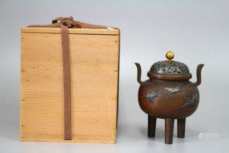 明治时期 初代竹影堂荣真款   银込铜香炉 银盖
