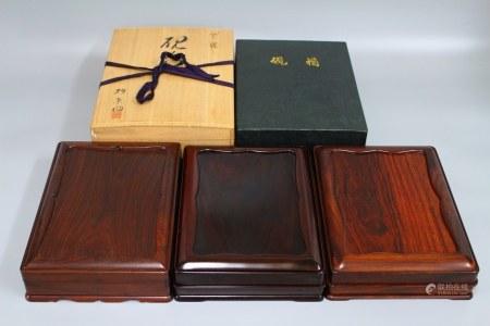 昭和时期 红木砚盒 3个