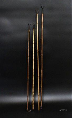 民国 斑竹画杆4根