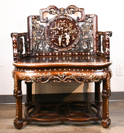 A Suanzhi and Mother-of-Pearl Inlaid Armchair