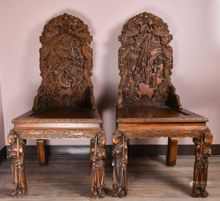 A Pair of Chinese Hardwood Carved Dining Chairs