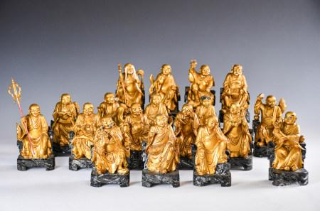 Eighteen Gilt-Wood Figures of Luohan, Republican P