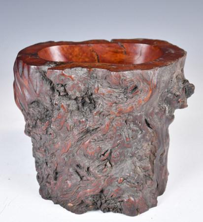 Burl Wood Brush Pot, 19th C