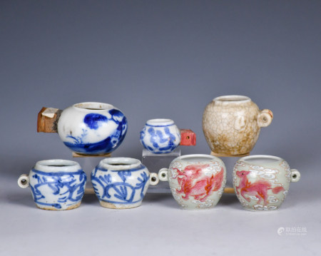 Seven Chinese Porcelain Bird Feeders, Qing