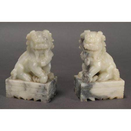 A Pair of Chinese Soapstone Lions