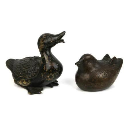 Two chinese bronze animals