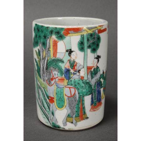 a chinese famille brush pot