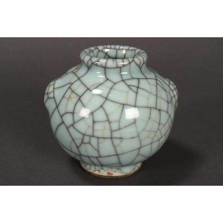 a chinese crackle glaze water pot