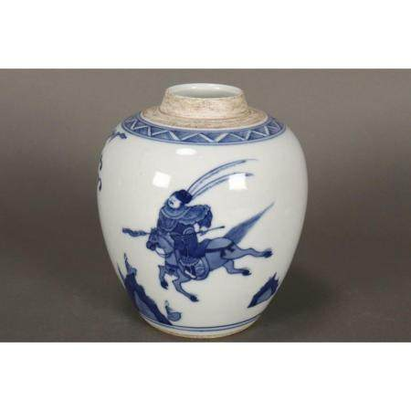 a chinese blue and white pot
