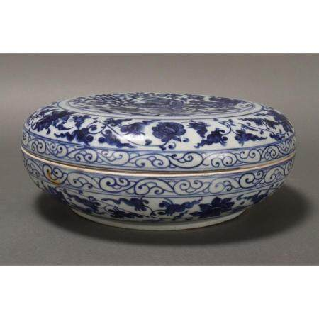 a chinese blue and white box