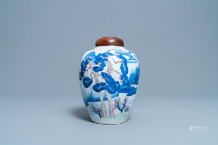 A Chinese blue, white, celadon and copper red vase with a landscape, Kangxi