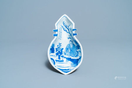 A Chinese lute-shaped blue and white ko-sometsuke plate for the Japanese market, Tianqi