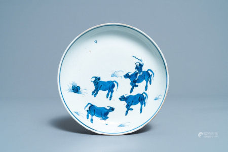 A Chinese blue and white ko-sometsuke 'oxen' plate for the Japanese market, Tianqi