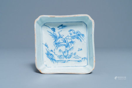 A square Chinese blue and white ko-sometsuke bowl on four feet for the Japanese market, Tianqi/Chongzhen