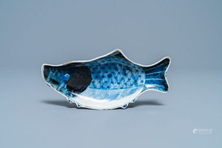 A Chinese blue and white ko-sometsuke 'carp' dish for the Japanese market, Tianqi