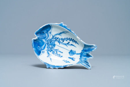 A Chinese blue and white ko-sometsuke 'twin fish' dish for the Japanese market, Tianqi