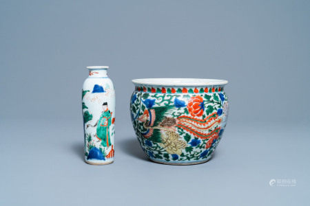 A Chinese wucai rouleau vase and a 'phoenix' censer, Transitional period