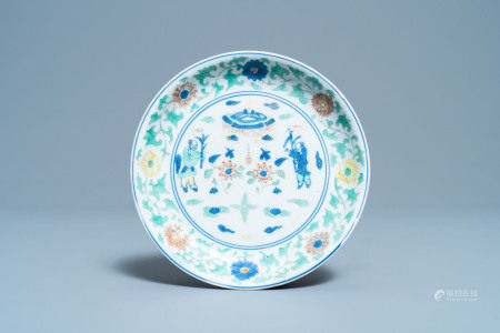A Chinese wucai 'two boys' dish, Wanli mark and of the period