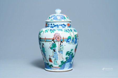 A large Chinese wucai vase and cover, Transitional period