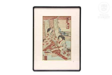 "Xilografía japonesa, ""Damas"" ukiyo-e, ffs.s.XIX"