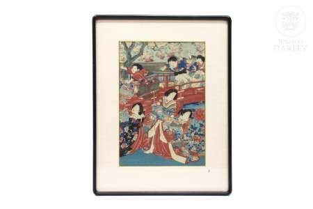 """Xilografía japonesa, """"Jardín con damas y mozos"""" ukiyo-e"""