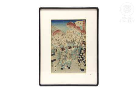 """Xilografía japonesa, ukiyo-e, """"Paseo"""" ukiyo-e,"""