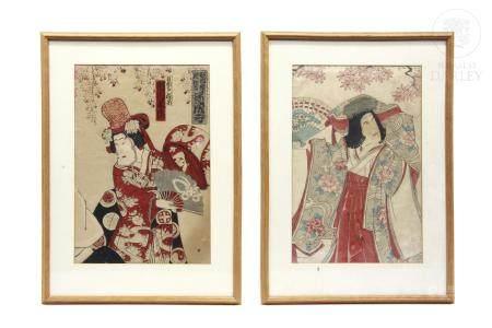 """Xilografía japonesa, """"Personajes de teatro"""" ukiyo-e,"""