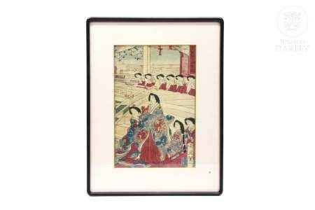 """Xilografía japonesa, """"Dama y su corte"""" ukiyo-e,"""