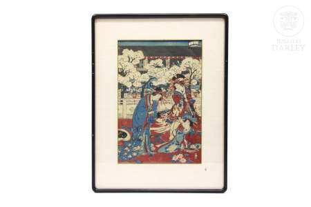 """Xilografía japonesa, """"Jardín con cortesanos"""""""