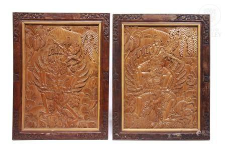 Pareja de paneles de madera tallada, Bali, med.s.XX.