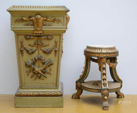A square and a round pedestal in painted wood (h 60 - 85 cm)