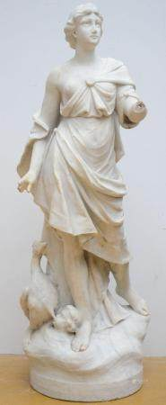 A large mythological statue in white marble 'Hera' (122cm) (*)