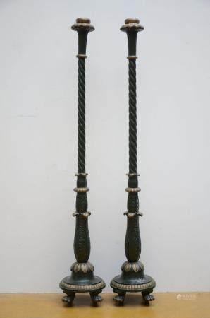 A pair of antique painted cast iron pedestals (190 cm)