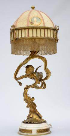 A gilt bronze lamp on marble foot 'amor' (93cm)