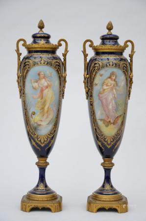 A pair vases in Sèvres porcelain painted by Cottinet 'allegorical representation' (57 cm)
