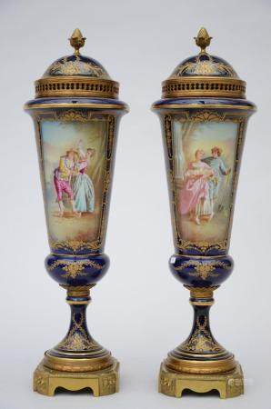 A pair of lidded vases in Sèvres porcelain painted by Grisard 'romantic scenes' (50cm)