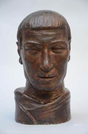 Oscar Piette: plaster statue 'head of a man' (49 cm)