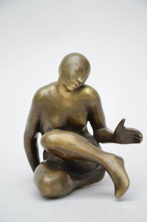 Jean Réné Gaugain (attributed to): bronze sculpture 'reclining figure' (16x13x14 cm)