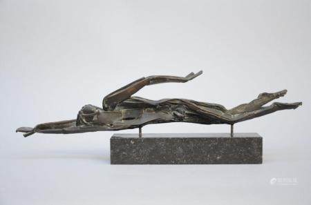 Jos De Decker: bronze sculpture 'the swimmer' (20x60 cm)