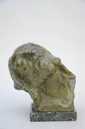 Vindevogel: bronze statue 'head of Christ' (25x32x22 cm)