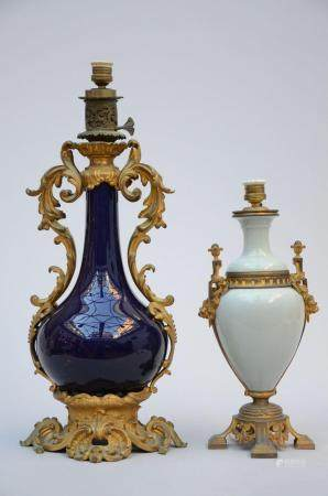 Two porcelain lamps with gilt bronze mounts (h46 - 67 cm)