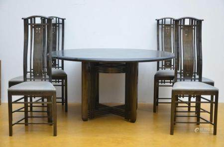Set of 6 chairs and a round table by Umberto Asagno for Giorgetti (dia 140 cm)
