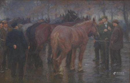Edgar Farasijn: painting (o/c) 'horse market' (70x108 cm)